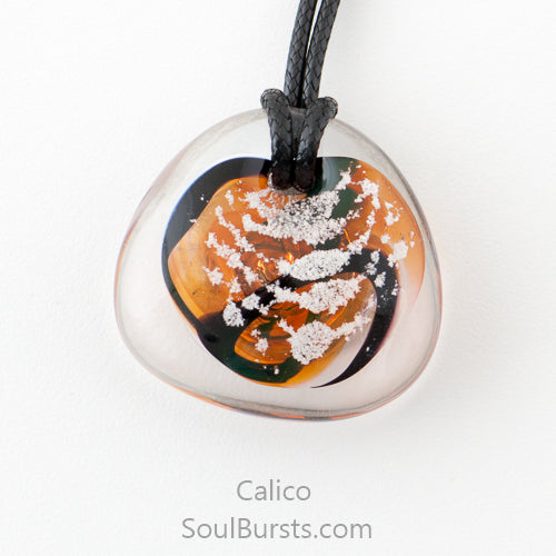 Glass Cremation Necklace - River - Calico