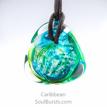 Load image into Gallery viewer, Glass Cremation Necklace - River - Caribbean 2