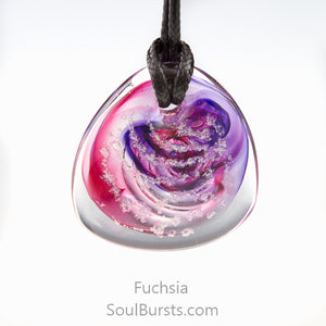 Glass Cremation Necklace - River - Fuchsia