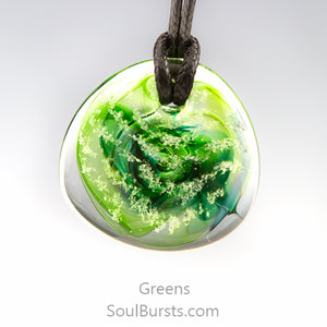 Glass Cremation Necklace - River - Green