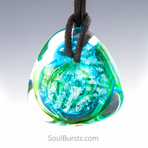 Glass Cremation Necklace - River - Caribbean 1