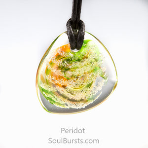 Glass Cremation Necklace - River - Peridot
