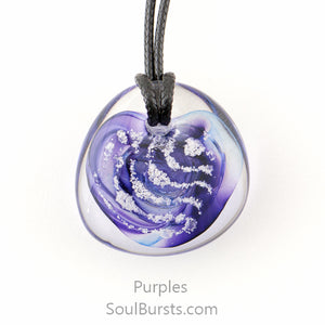 Glass Cremation Necklace - River - Purple