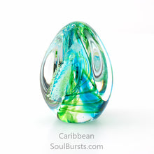 Load image into Gallery viewer, Glass Cremation Keepsakes - Green Caribbean Soul Dance