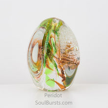 Load image into Gallery viewer, Glass Cremation Keepsakes - Green Orange Peridot Soul Dance