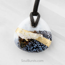 Load image into Gallery viewer, Glass Cremation Pendant - Whisper - Black, White, Gold