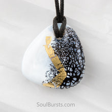 Load image into Gallery viewer, Glass Cremation Pendant - Whisper -  Black & White & Gold