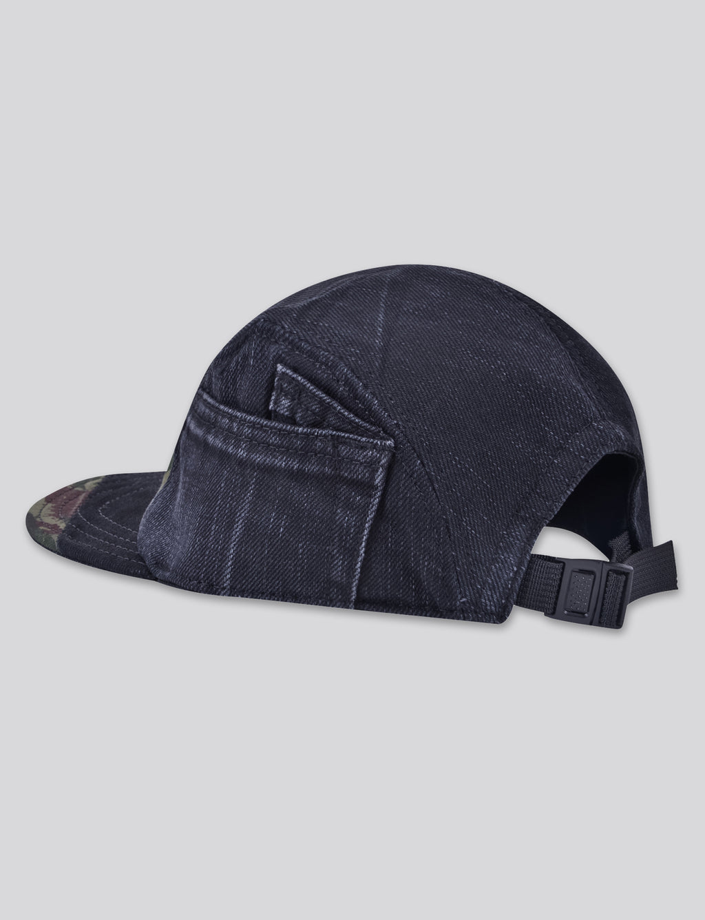 Prps - #1 Black Denim/Camo 5 Panel Hat - Hat - Prps