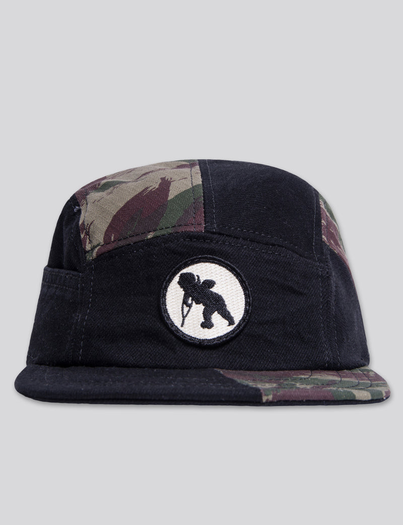 #11 Black Denim/Camo 5 Panel Hat