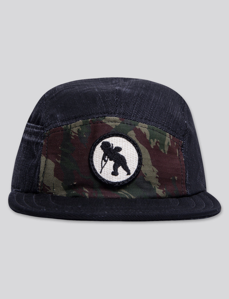 #12 Black Denim/Camo 5 Panel Hat