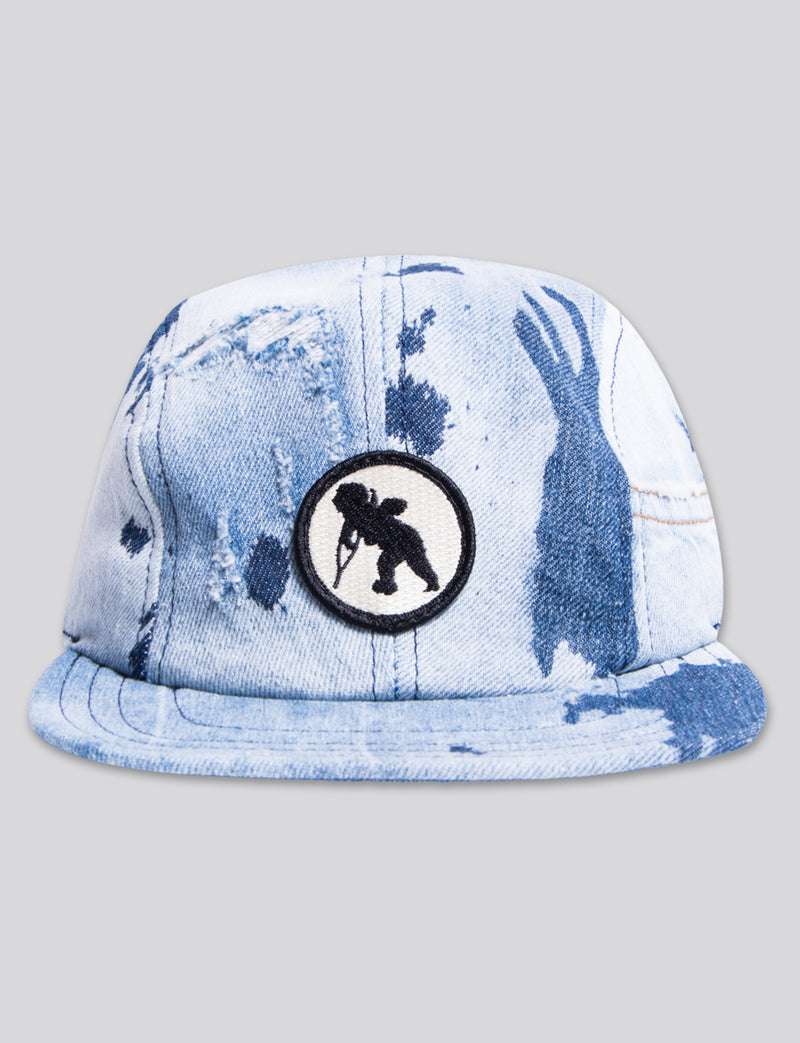 #20 Bleached Denim 4 Panel Hat