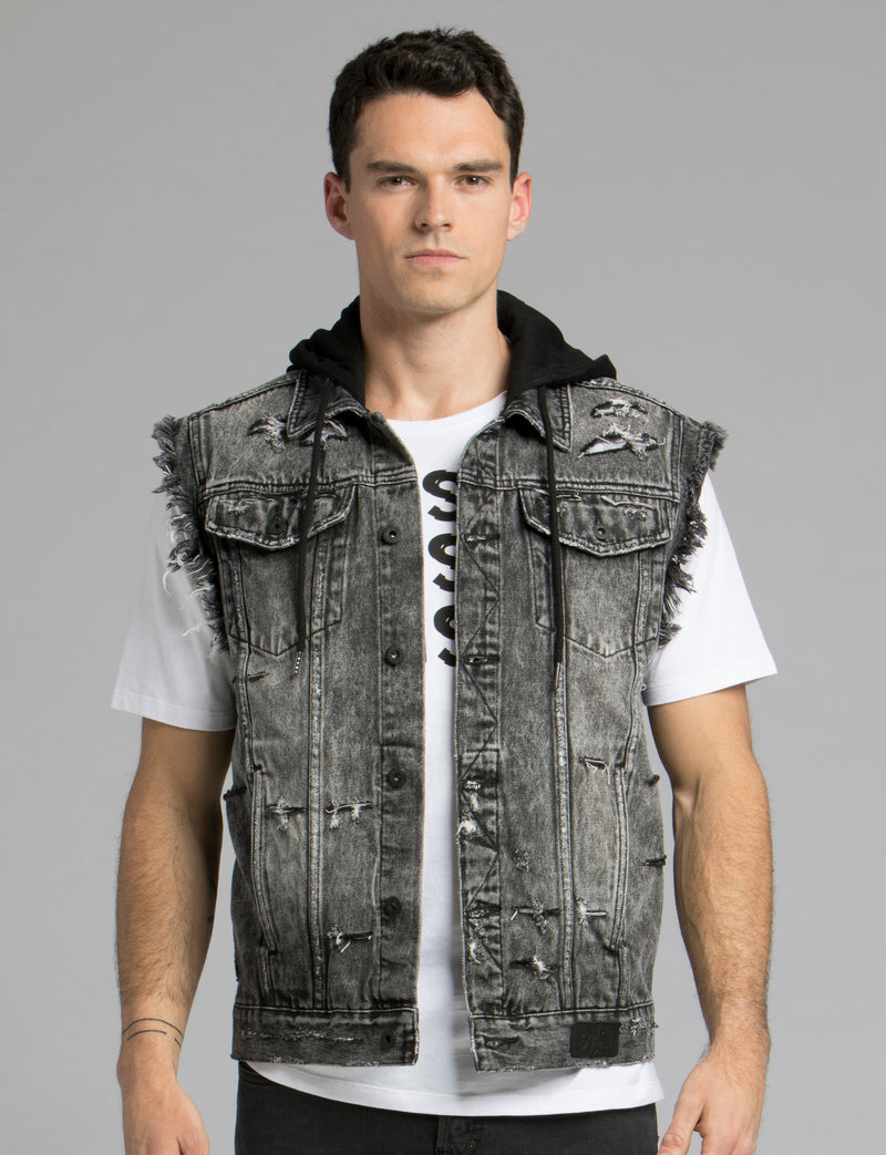 Denim Hooded Vest