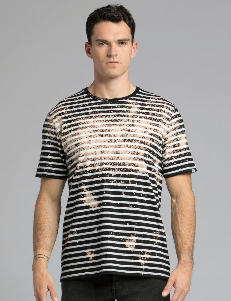 Striped Bleach Wash Tee