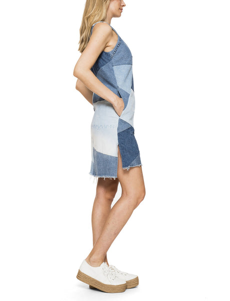 Patch A-Line Denim Dress