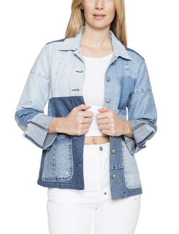 Patch A-Line Denim Jacket