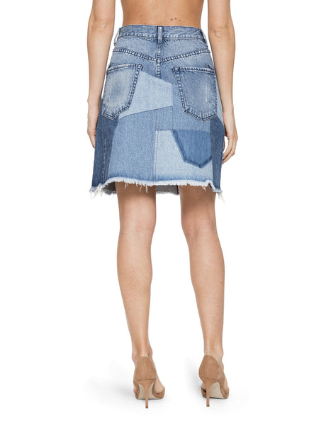 Patchwork Denim A-Line Skirt