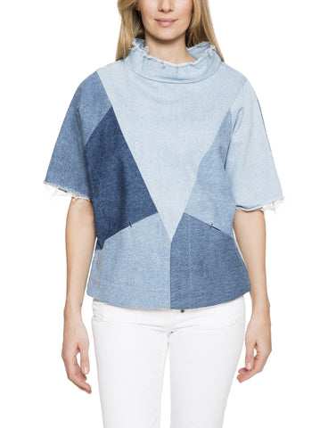 Patchwork Cropped Denim Pullover