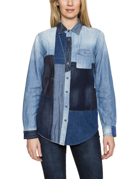 Patchwork Button Front Denim Shirt