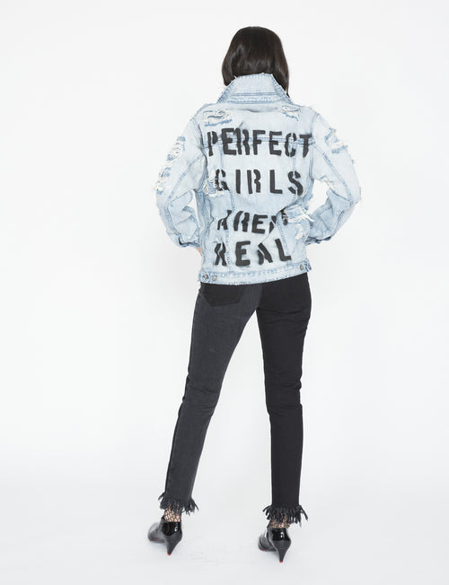 Perfect Girls Aren't Real Denim Jacket