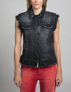 Denim Vest With Ruffle