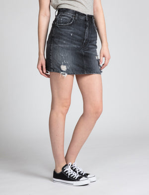 Denim Mini With Back Slit