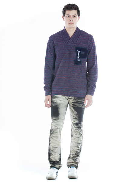 Space Dyed Shawl Collar Pullover