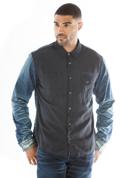 Mixed Panel Button Down