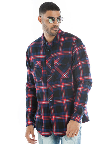 Plaid Button Front Pullover