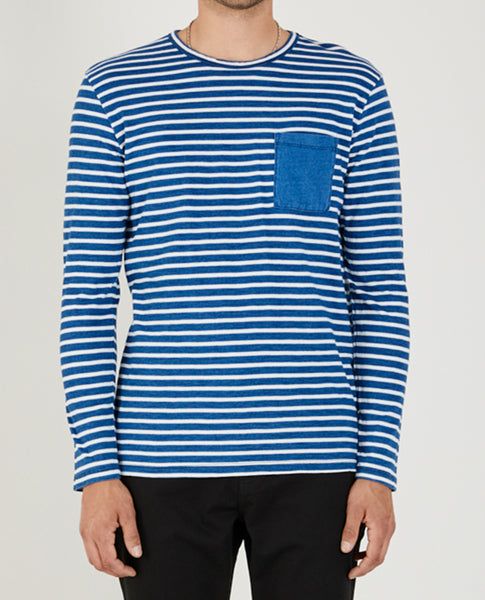 LONG SLEEVE THICK STRIPE INDIGO CREW NECK