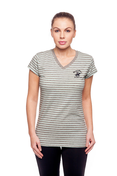Beverly Hills Polo Club Women's Striped Athletic V-neck T-Shirt BHP-800H
