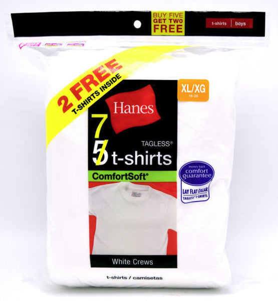 Hanes Boys' 7-Pack Crewneck Undershirt Tagless (Includes 5+2 Free Bonus Pack of 7)