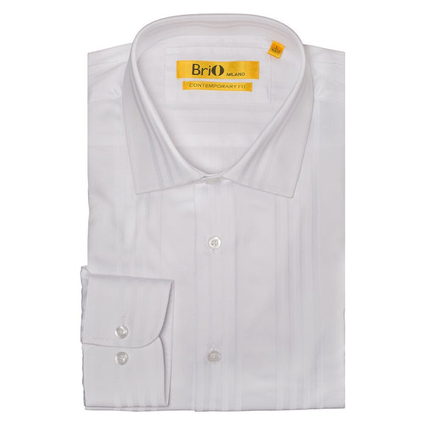 Brio Men's Fashion Designed Solid Stripe Dress Shirt
