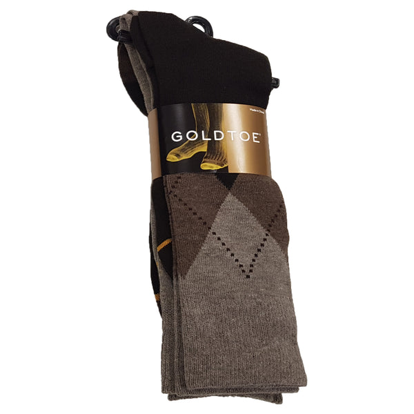 Gold Toe 3 Pack Cotton Casual Argyle Asst. Socks