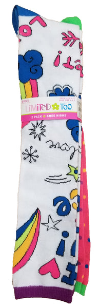 Limited Too 2 Pack Girls Knee High Socks - LIM68172-459-9-11