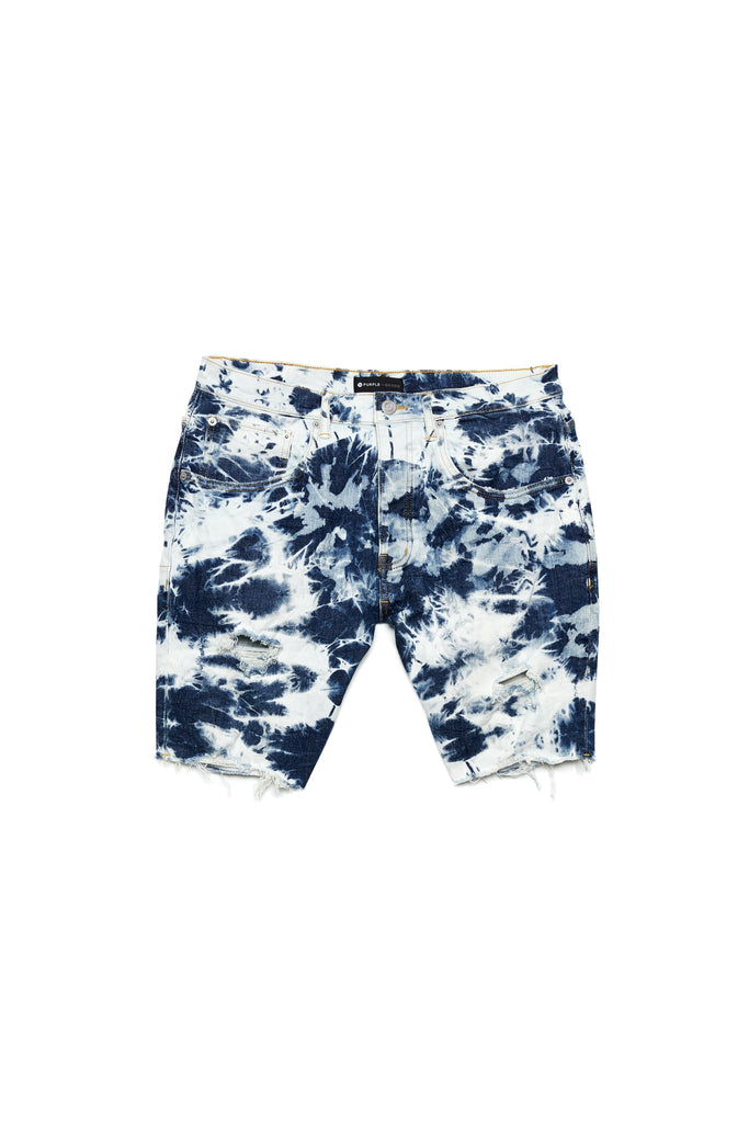 P020 MID RISE SHORT - Mid Indigo Motley Bleach Distress