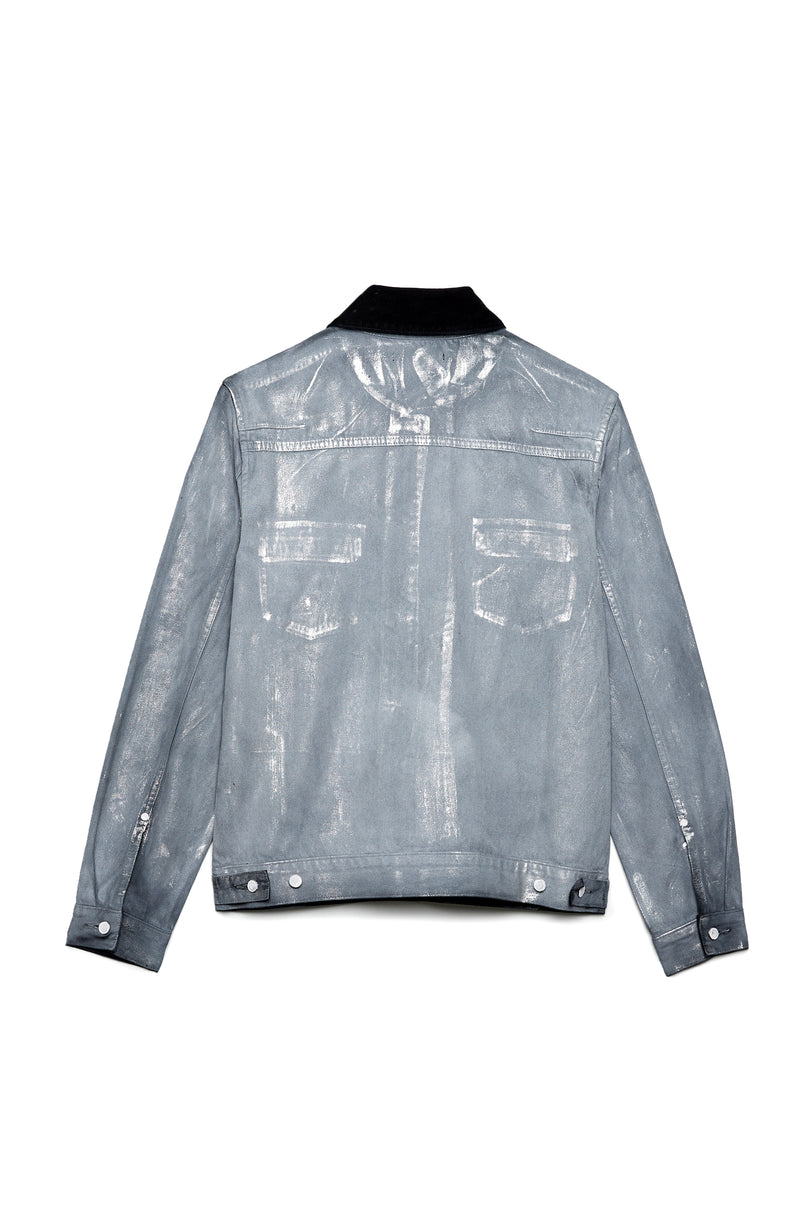 P019 Denim Shirt Jacket - Lightweight Grey Overspray