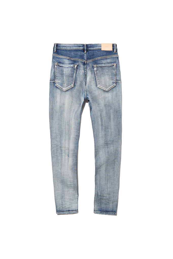 P002 MID RISE WITH TAPERED LEG - Indigo Faded Destroy