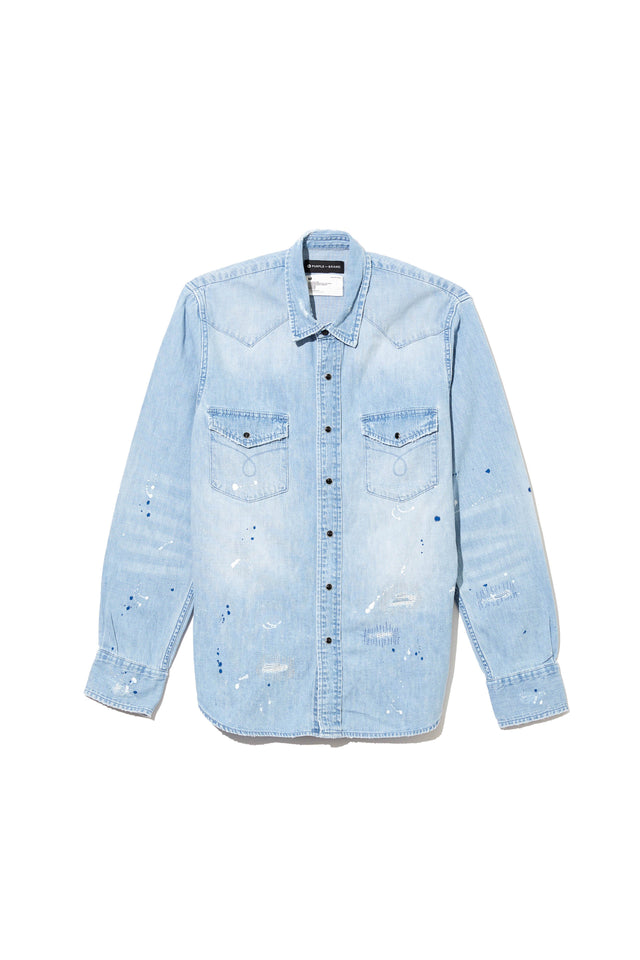 P009 DENIM SHIRT - Light Indigo Repair