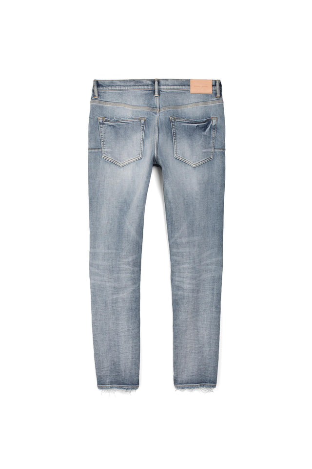 P002 MID RISE WITH TAPERED LEG - Indigo Marble Patched