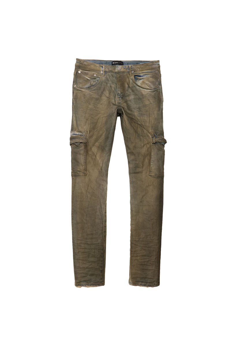 P002 MID RISE WITH TAPERED LEG - Indigo Dirty Resin Cargo