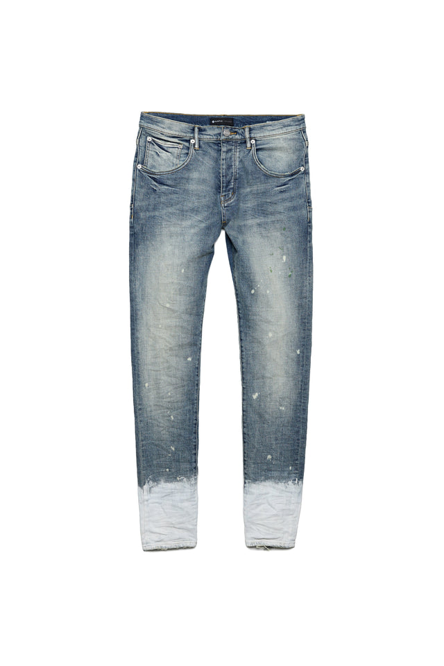 P002 MID RISE WITH TAPERED LEG - Light Indigo Bleached Hem