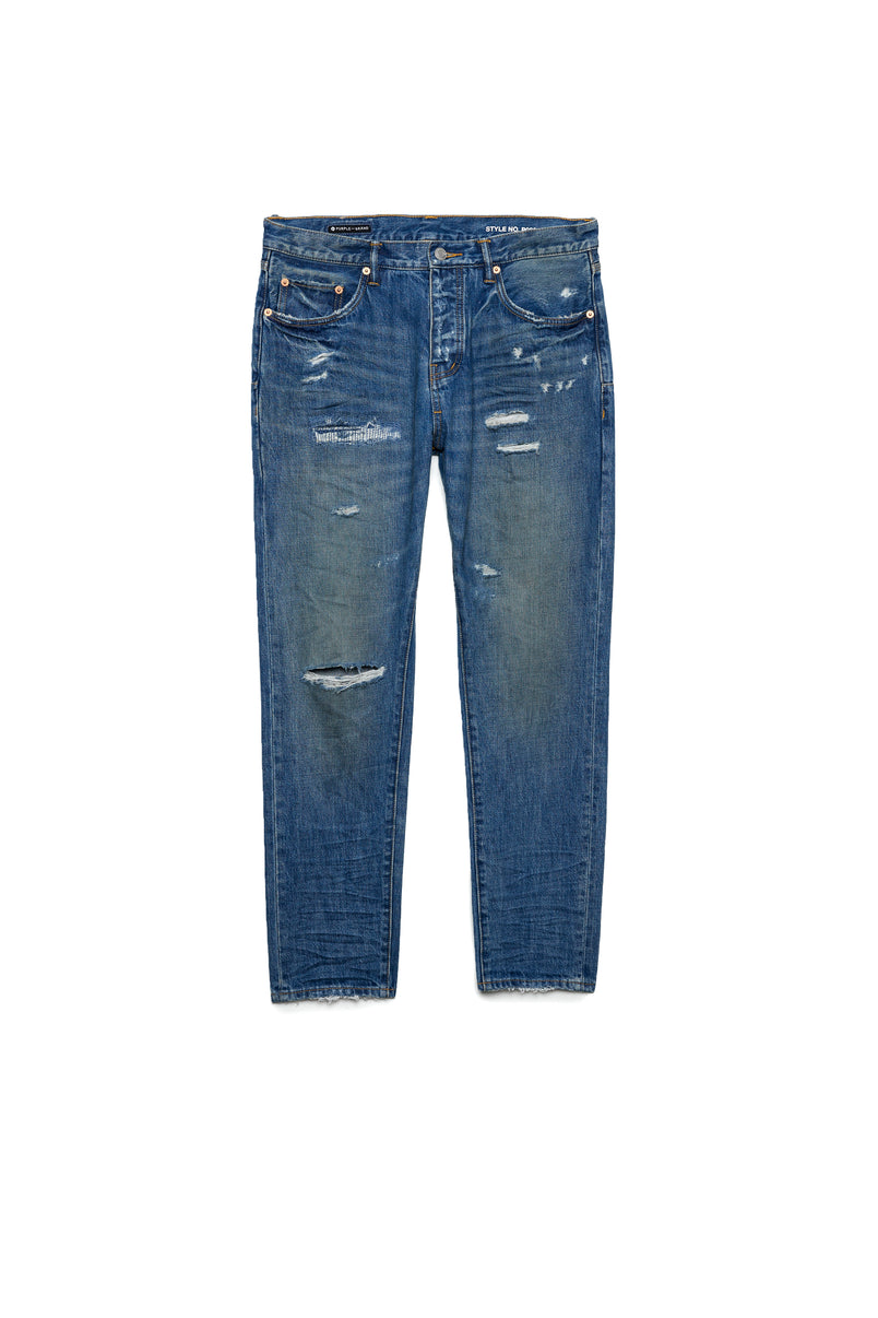 P003 LONG RISE WITH TAPERED LEG - Indigo Vintage Distress