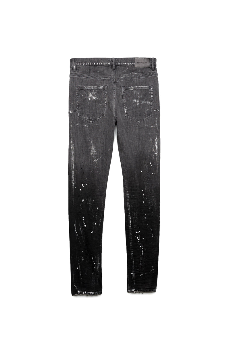 P002 MID RISE WITH TAPERED LEG - Black Gradient Grey with Metallic Foil