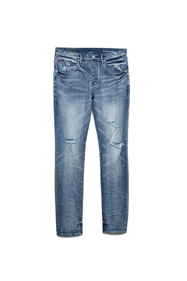 P002 MID RISE WITH TAPERED LEG - Faded Blue Tonal Distress