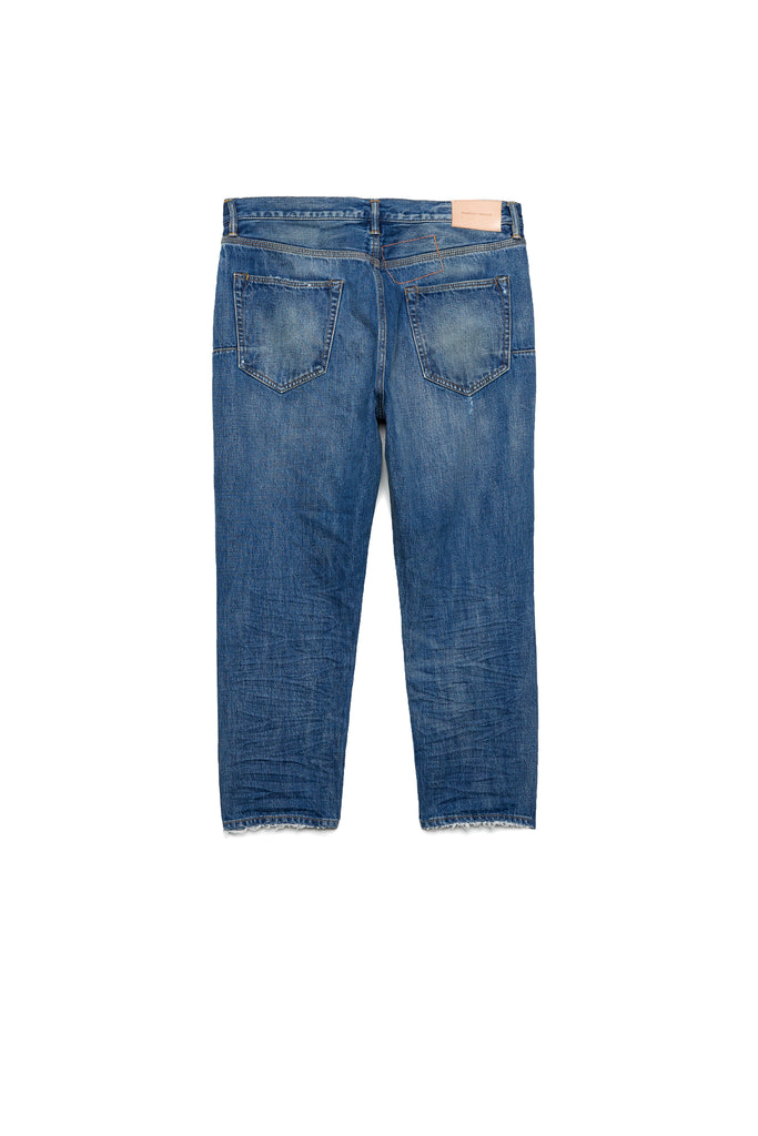 P003 LONG RISE WITH TAPERED LEG - Indigo Vintage Distress Crop