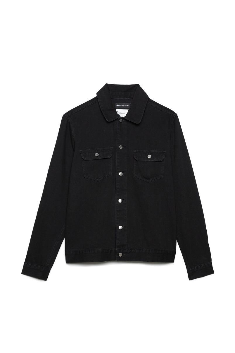 P019 Shirt Jacket - Lightweight Black Denim