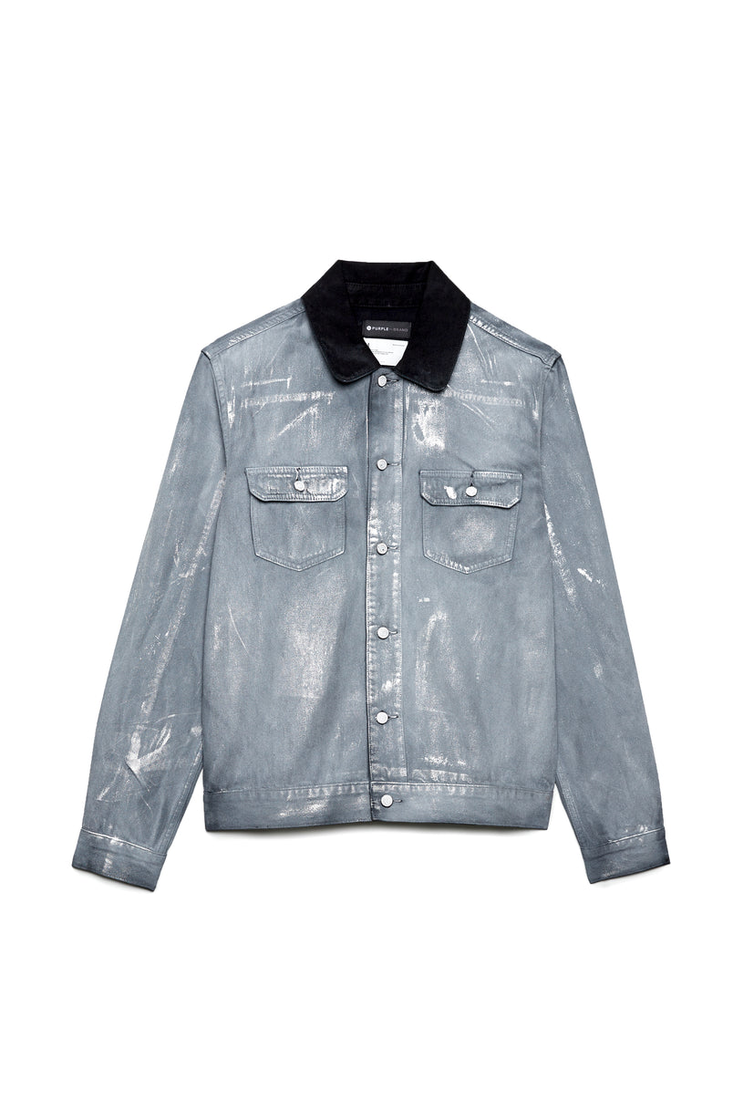 P019 Shirt Jacket - Lightweight Grey Overspray Denim