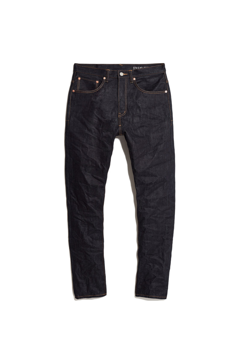 P003 LONG RISE WITH TAPERED LEG - Raw Indigo