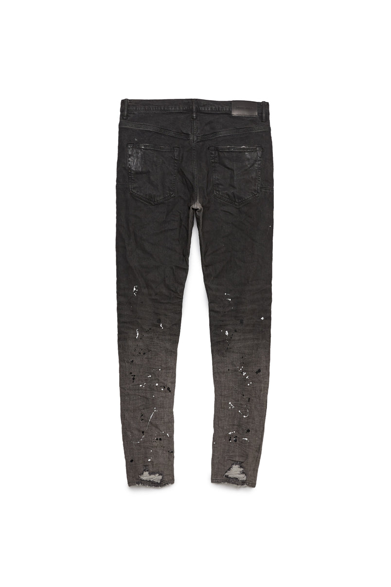 P002 MID RISE WITH TAPERED LEG - Bleached Black Raw