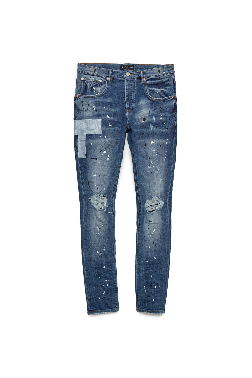 P002 MID RISE WITH TAPERED LEG - Mid Indigo Reflective Print